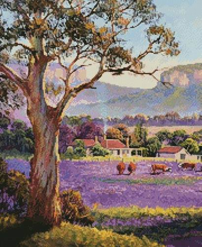 cross stitch pattern The Purple Paddock (Crop)