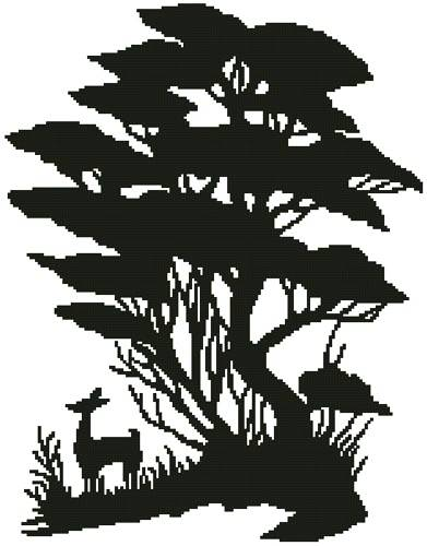 cross stitch pattern Tree and Deer Silhouette