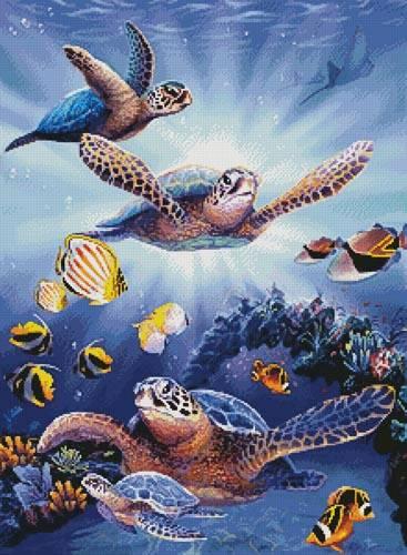 cross stitch pattern Turtles in Light