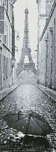 cross stitch pattern Umbrella in Paris Black and White (Crop)