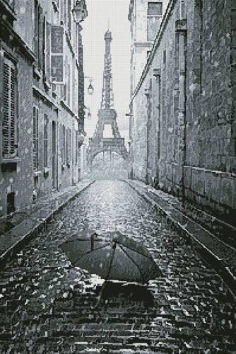 cross stitch pattern Umbrella in Paris (Black and White)