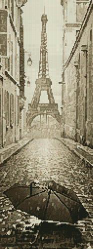 cross stitch pattern Umbrella in Paris Sepia (Crop)