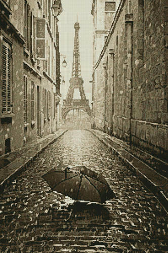 cross stitch pattern Umbrella in Paris (Sepia)