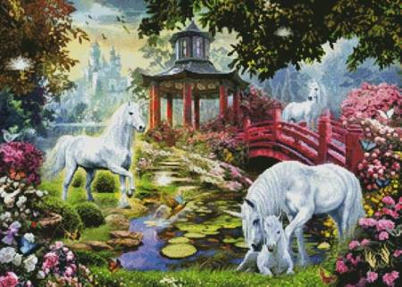 cross stitch pattern Unicorn Summer House