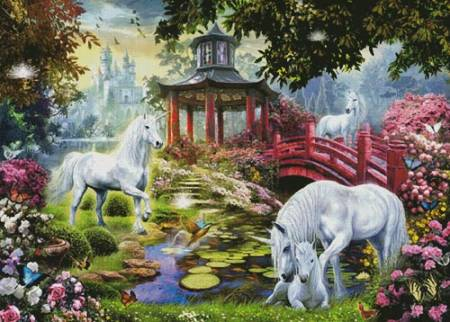 cross stitch pattern Unicorn Summer House (Large)