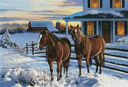 cross stitch pattern Winter Holiday