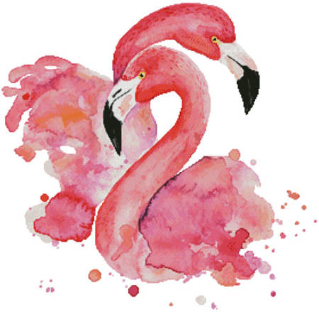 cross stitch pattern Watercolour Flamingos