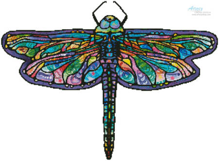 cross stitch pattern Abstract Dragonfly (No Background)