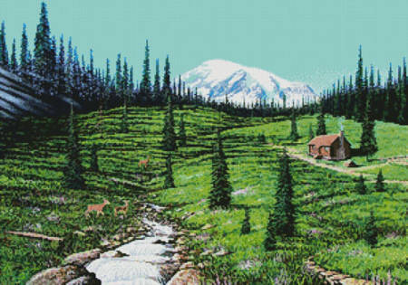 cross stitch pattern Alpine Meadow Cabin