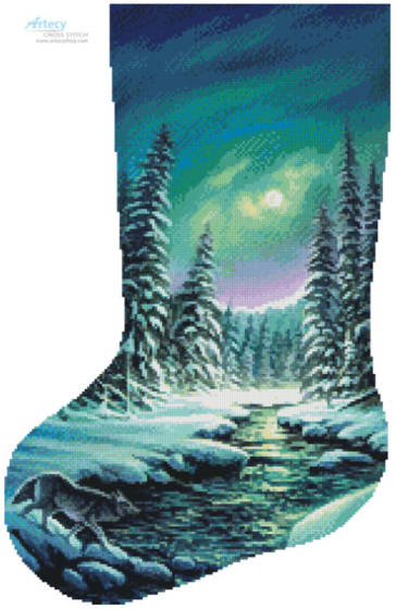 cross stitch pattern A Quiet Stroll Stocking (Left)