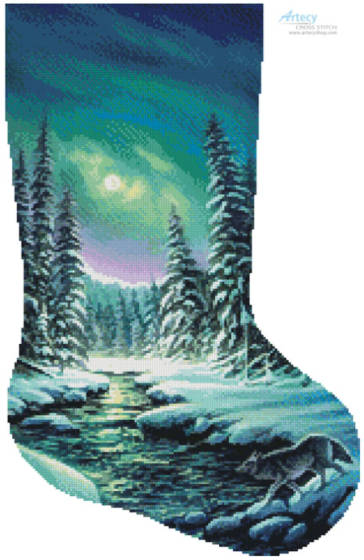 cross stitch pattern A Quiet Stroll Stocking (Right)