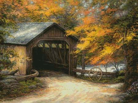 cross stitch pattern Autumn Bridge