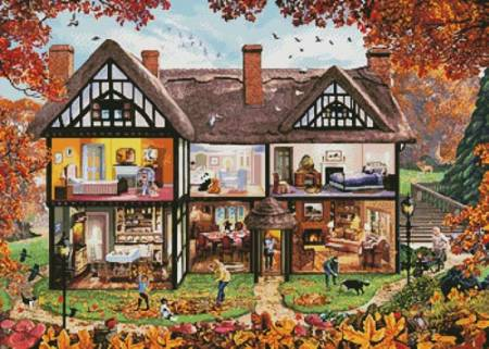 cross stitch pattern Autumn House