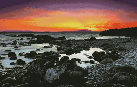 cross stitch pattern Beach at Sunrise