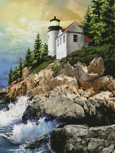 cross stitch pattern Bass Harbor Lighthouse Painting