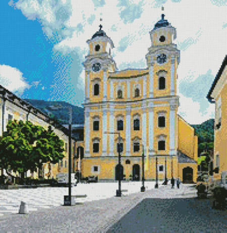 cross stitch pattern Basilica St. Michael, Mondsee, (Crop)