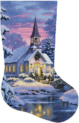 cross stitch pattern Country Church Stocking Right (Large)