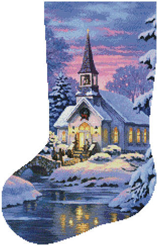 cross stitch pattern Country Church Stocking (Left)