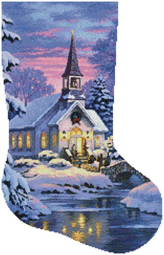 cross stitch pattern Country Church Stocking (Right)