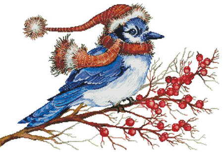 cross stitch pattern Christmas Blue Jay (No Background)