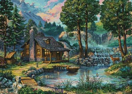 cross stitch pattern Country House by the Lake