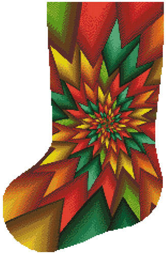 cross stitch pattern Christmas Fractal Stocking (Left)