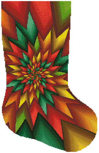 cross stitch pattern Christmas Fractal Stocking (Right)