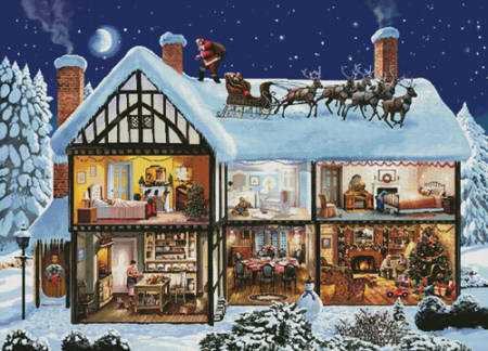 cross stitch pattern Christmas House 1 (Large)