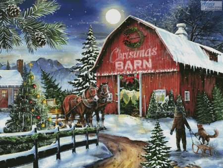 cross stitch pattern The Christmas Barn (Large)