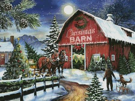 cross stitch pattern The Christmas Barn