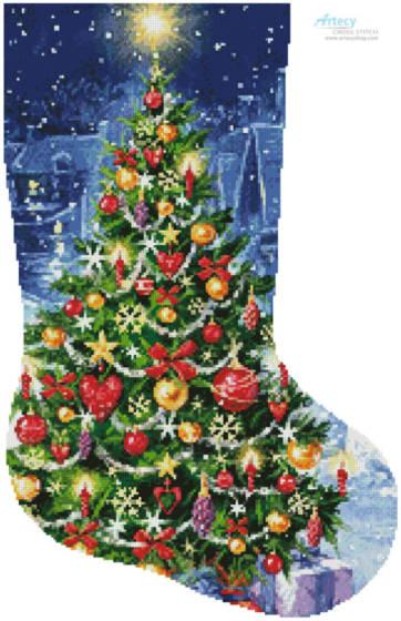cross stitch pattern Christmas Tree Stocking (Right)