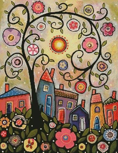 cross stitch pattern Collage Tree Village