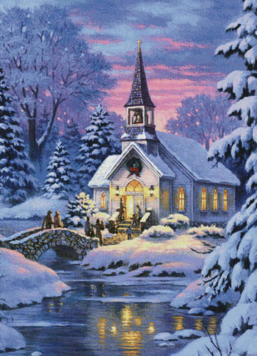 cross stitch pattern Country Church (Large Crop)