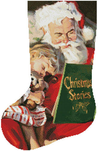 cross stitch pattern Christmas Stories Stocking (Left)
