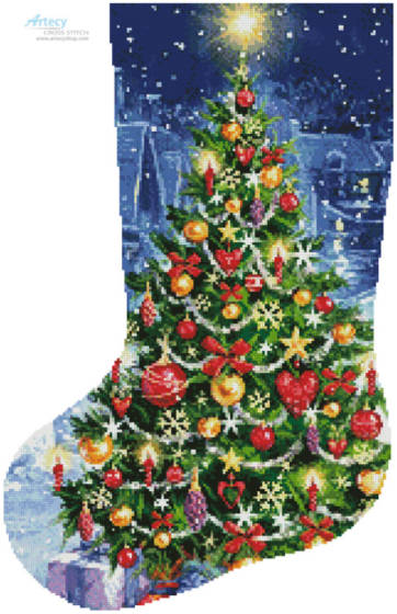cross stitch pattern Christmas Tree Stocking (Left)