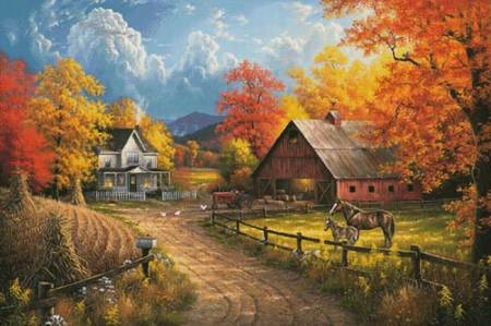 cross stitch pattern Country Blessings Painting (Large)