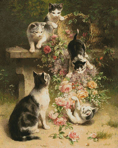 cross stitch pattern Cats and Flowers