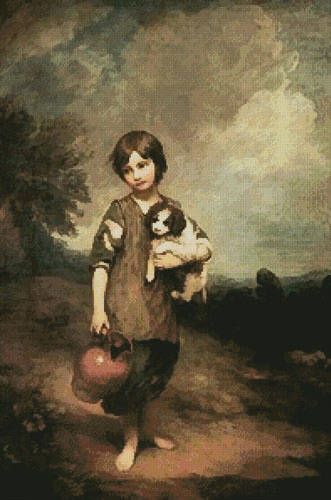 cross stitch pattern Cottage Girl with Dog and Pitcher