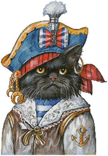 cross stitch pattern Cat Pirate