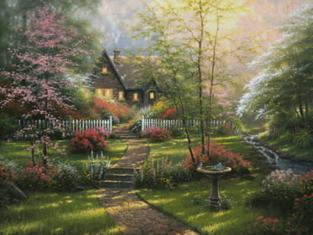 cross stitch pattern Dogwood Cottage (Large)
