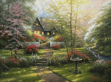 cross stitch pattern Dogwood Cottage