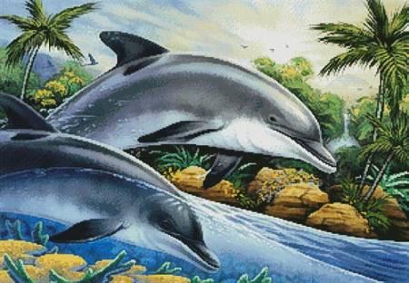 cross stitch pattern Dolphin Island