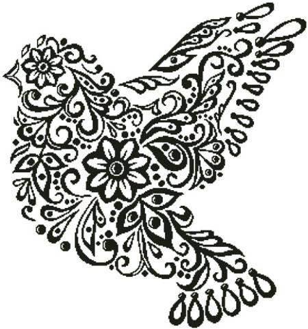 cross stitch pattern Dove Silhouette