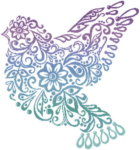 cross stitch pattern Dove Silhouette (Colour)