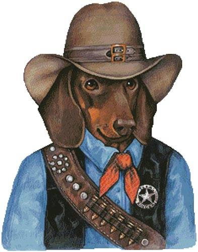 cross stitch pattern Doxie Texas Ranger