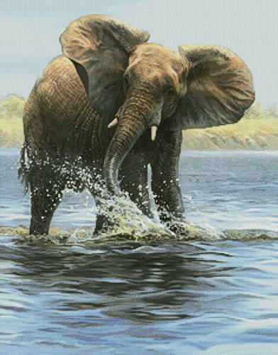 cross stitch pattern Elephant Painting