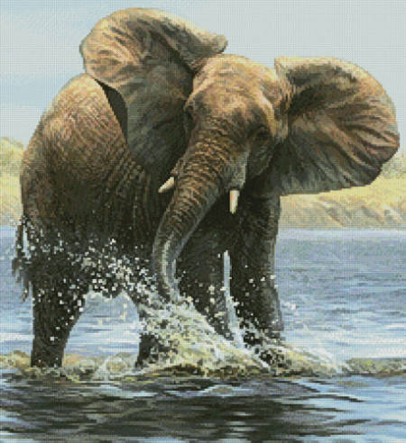 cross stitch pattern Elephant Painting (Crop)
