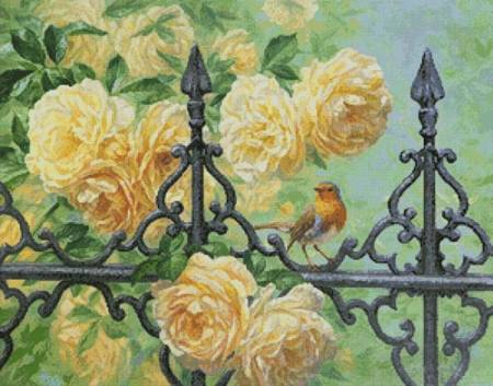 cross stitch pattern European Robin and Roses