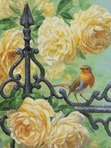 cross stitch pattern European Robin and Roses (Crop)