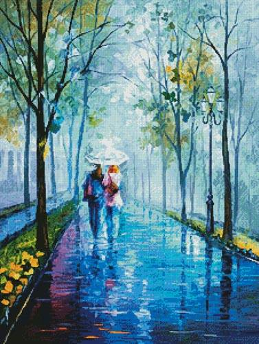cross stitch pattern Foggy Stroll